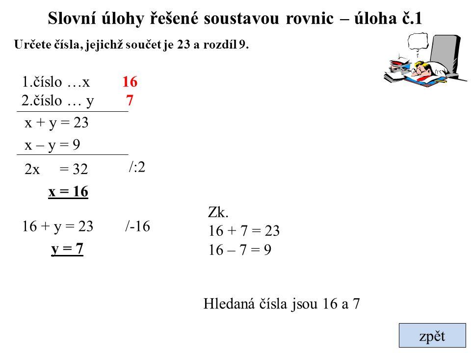 Slovní úlohy řešené soustavou rovnic – úloha č.1 zpět x + y = 23 Hledaná čísla jsou 16 a 7 1.číslo …x 2.číslo … y x – y = 9 2x = 32 x = 16 16 + y = 23
