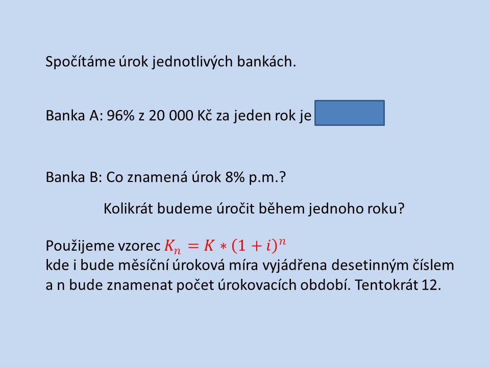 Spočítáme úrok jednotlivých bankách. Banka A: 96% z 20 000 Kč za jeden rok je 19 200 Kč.