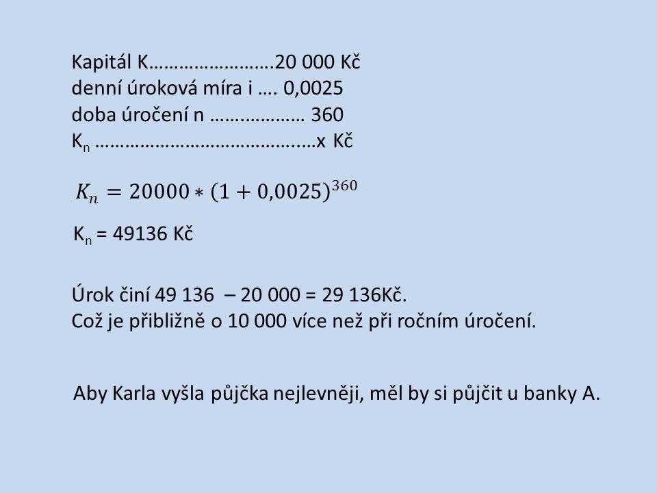 Kapitál K…………………….20 000 Kč denní úroková míra i ….