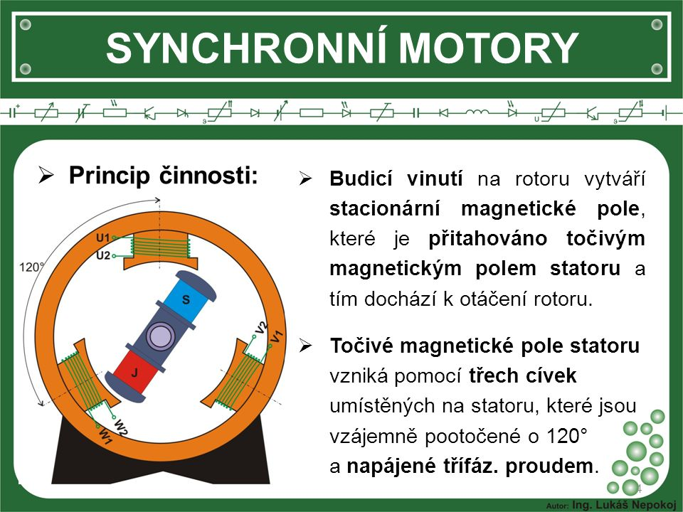 SYNCHRONNÍ MOTORY  Princip činnosti: 4  Budicí vinutí na rotoru vytváří stacionární magnetické pole, které je přitahováno točivým magnetickým polem