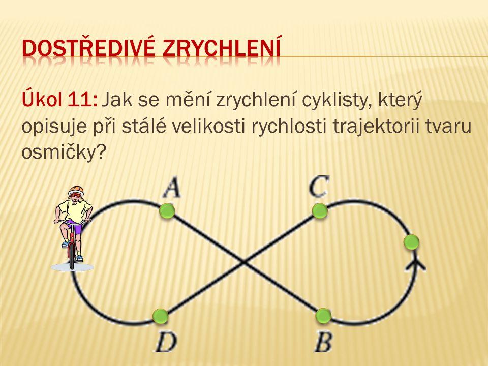 Úkol 11: Jak se mění zrychlení cyklisty, který opisuje při stálé velikosti rychlosti trajektorii tvaru osmičky?