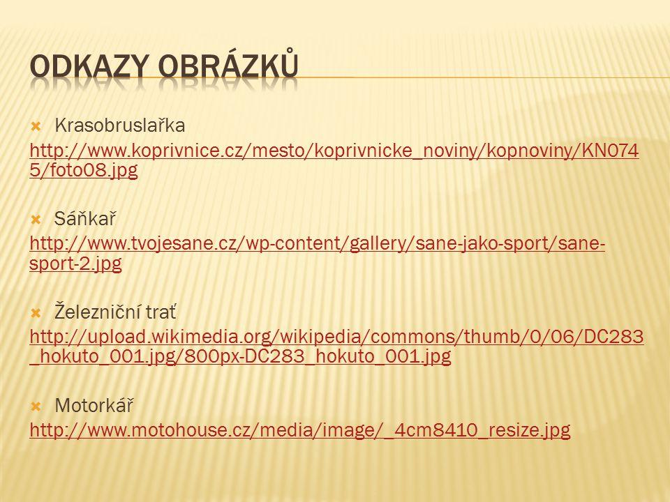  Krasobruslařka http://www.koprivnice.cz/mesto/koprivnicke_noviny/kopnoviny/KN074 5/foto08.jpg  Sáňkař http://www.tvojesane.cz/wp-content/gallery/sa