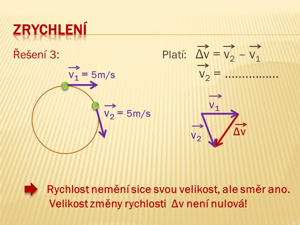 Řešení 3: Platí: Δv = v 2 – v 1 v 2 =................ Rychlost nemění sice svou velikost, ale směr ano. Velikost změny rychlosti Δv není nulová! v 1 =