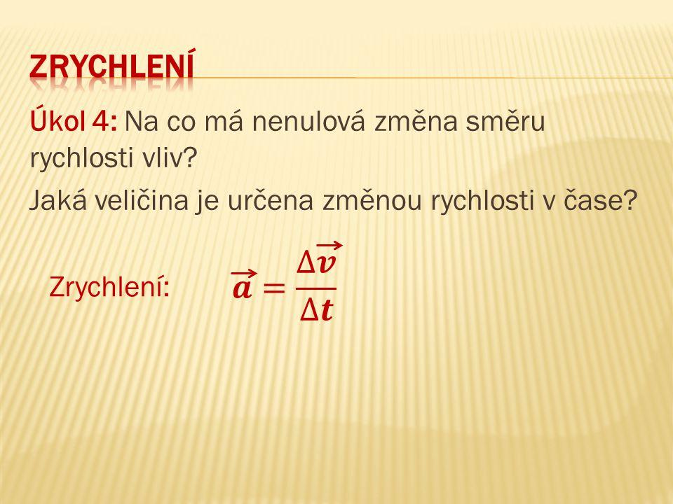 Úkol 4: Na co má nenulová změna směru rychlosti vliv? Jaká veličina je určena změnou rychlosti v čase? Zrychlení: