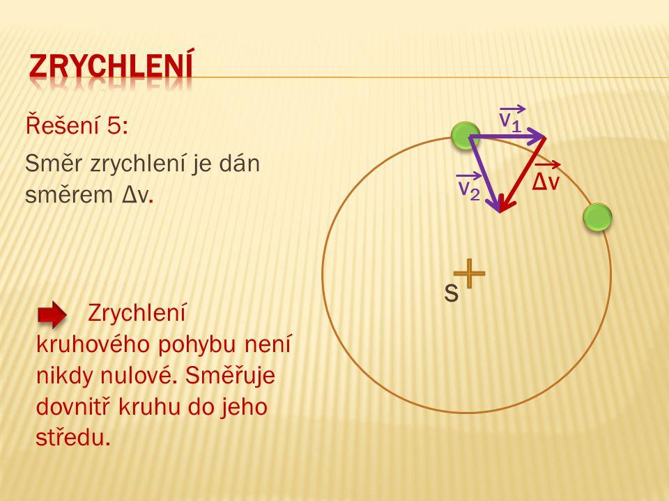 Řešení 5: Směr zrychlení je dán směrem Δv. Zrychlení kruhového pohybu není nikdy nulové. Směřuje dovnitř kruhu do jeho středu. v1v1 v2v2 ΔvΔv S