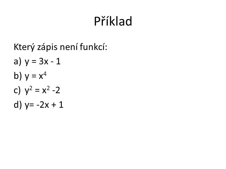 Příklad Který zápis není funkcí: a)y = 3x - 1 b)y = x 4 c)y 2 = x 2 -2 d)y= -2x + 1