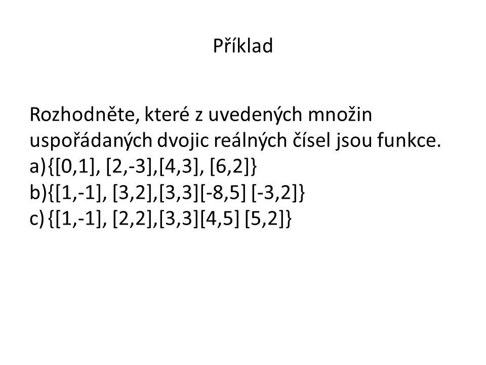 Příklad Rozhodněte, které z uvedených množin uspořádaných dvojic reálných čísel jsou funkce.