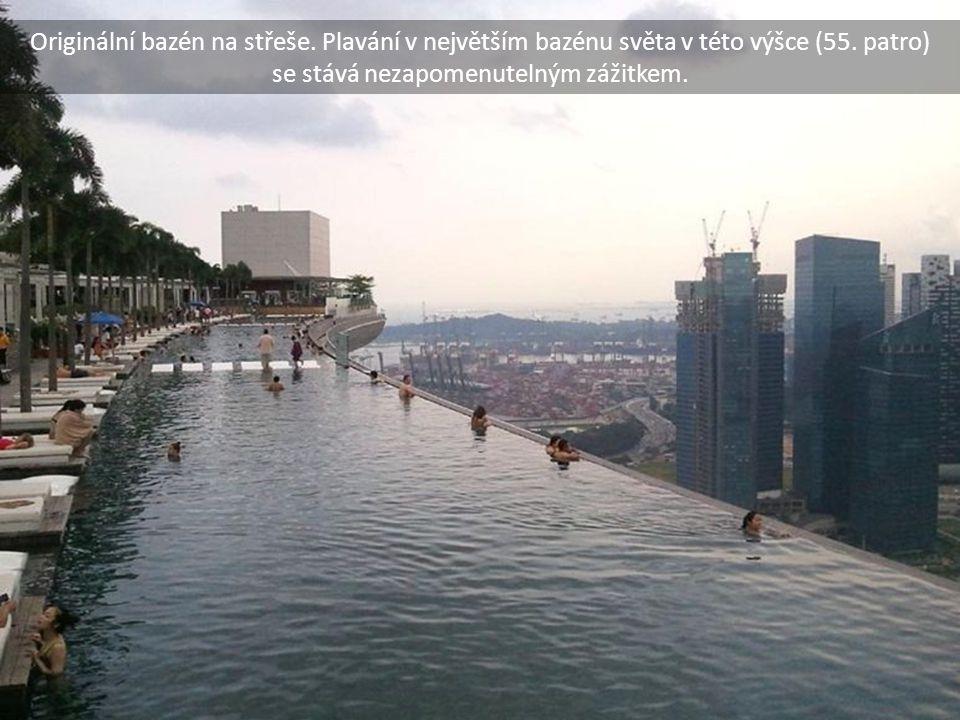 Originální bazén na střeše. Plavání v největším bazénu světa v této výšce (55. patro) se stává nezapomenutelným zážitkem.