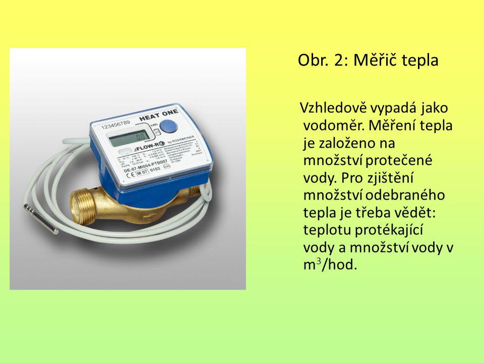 Obr. 2: Měřič tepla Vzhledově vypadá jako vodoměr. Měření tepla je založeno na množství protečené vody. Pro zjištění množství odebraného tepla je třeb