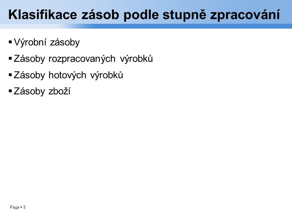 Page  5 Klasifikace zásob podle stupně zpracování  Výrobní zásoby  Zásoby rozpracovaných výrobků  Zásoby hotových výrobků  Zásoby zboží