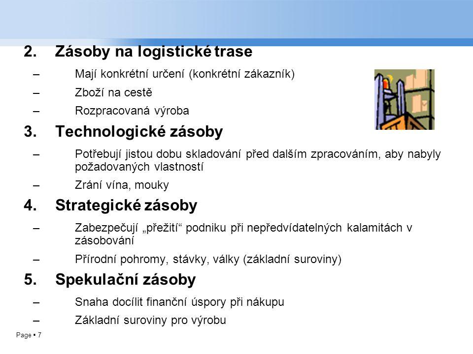 Page  7 2.Zásoby na logistické trase –Mají konkrétní určení (konkrétní zákazník) –Zboží na cestě –Rozpracovaná výroba 3.Technologické zásoby –Potřebu