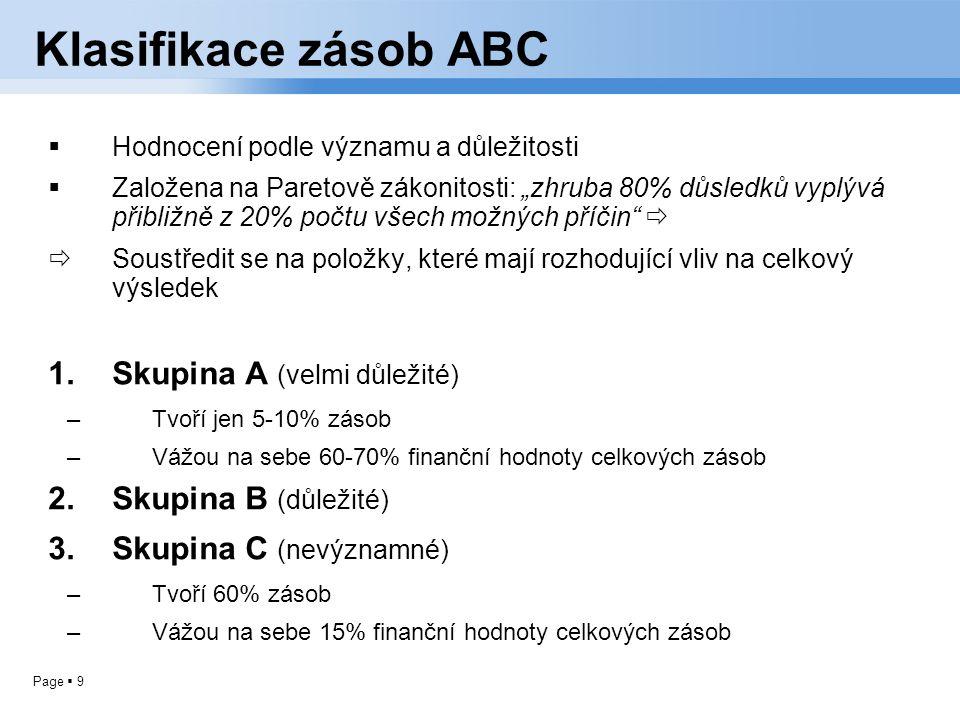"""Page  9 Klasifikace zásob ABC  Hodnocení podle významu a důležitosti  Založena na Paretově zákonitosti: """"zhruba 80% důsledků vyplývá přibližně z 20"""