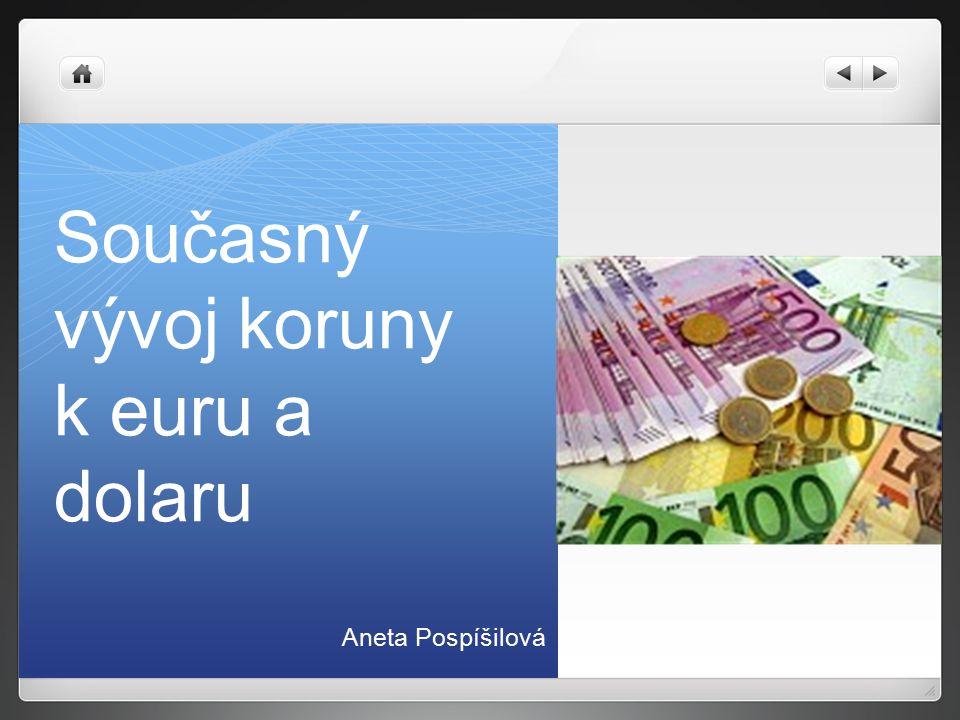 Současný vývoj koruny k euru a dolaru Aneta Pospíšilová