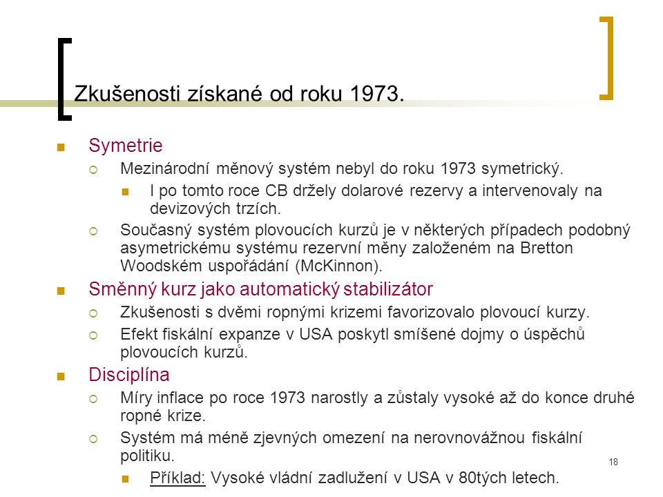 18 Symetrie  Mezinárodní měnový systém nebyl do roku 1973 symetrický.