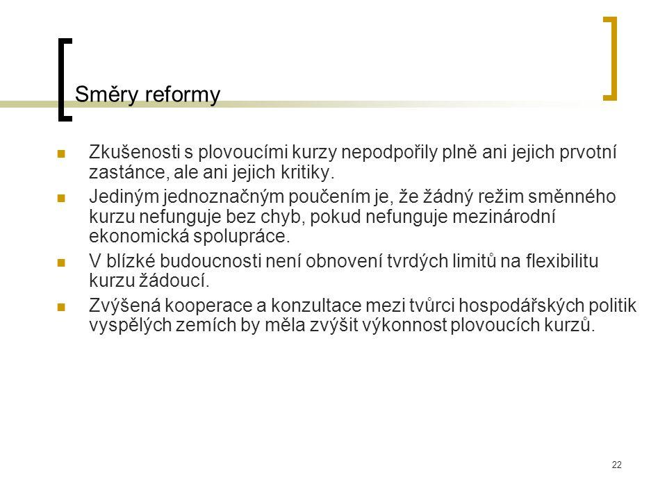 22 Směry reformy Zkušenosti s plovoucími kurzy nepodpořily plně ani jejich prvotní zastánce, ale ani jejich kritiky.