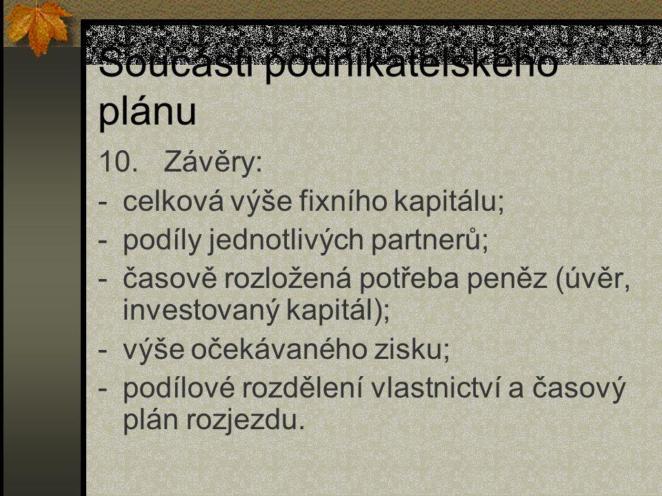 Součásti podnikatelského plánu 10.Závěry: -celková výše fixního kapitálu; -podíly jednotlivých partnerů; -časově rozložená potřeba peněz (úvěr, invest