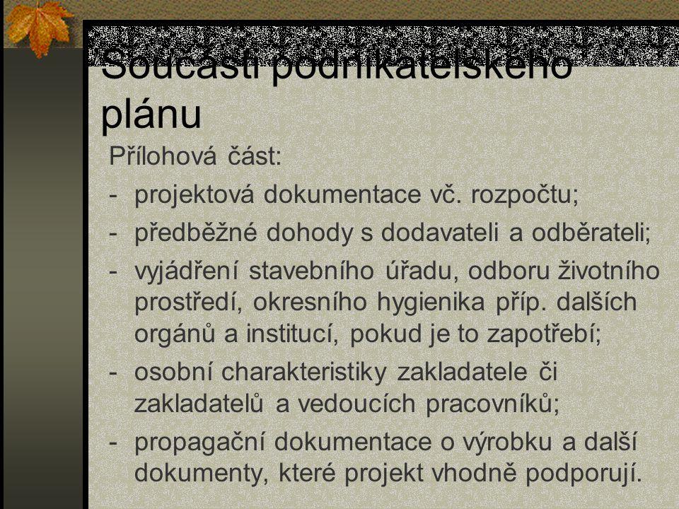 Součásti podnikatelského plánu Přílohová část: -projektová dokumentace vč. rozpočtu; -předběžné dohody s dodavateli a odběrateli; -vyjádření stavebníh