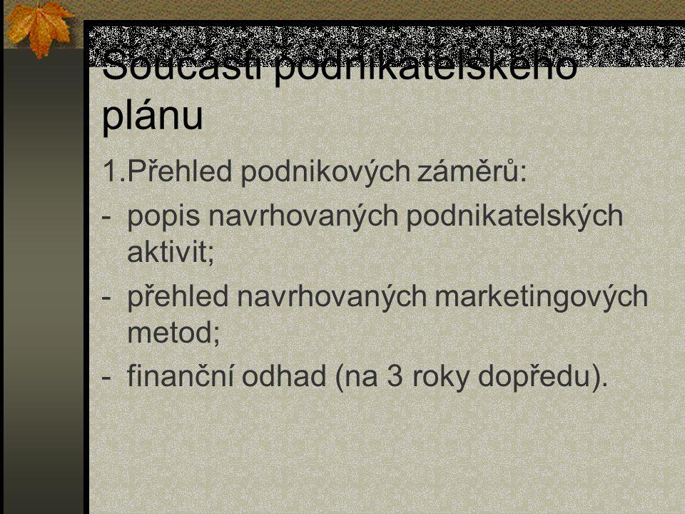 Součásti podnikatelského plánu 1.Přehled podnikových záměrů: -popis navrhovaných podnikatelských aktivit; -přehled navrhovaných marketingových metod;