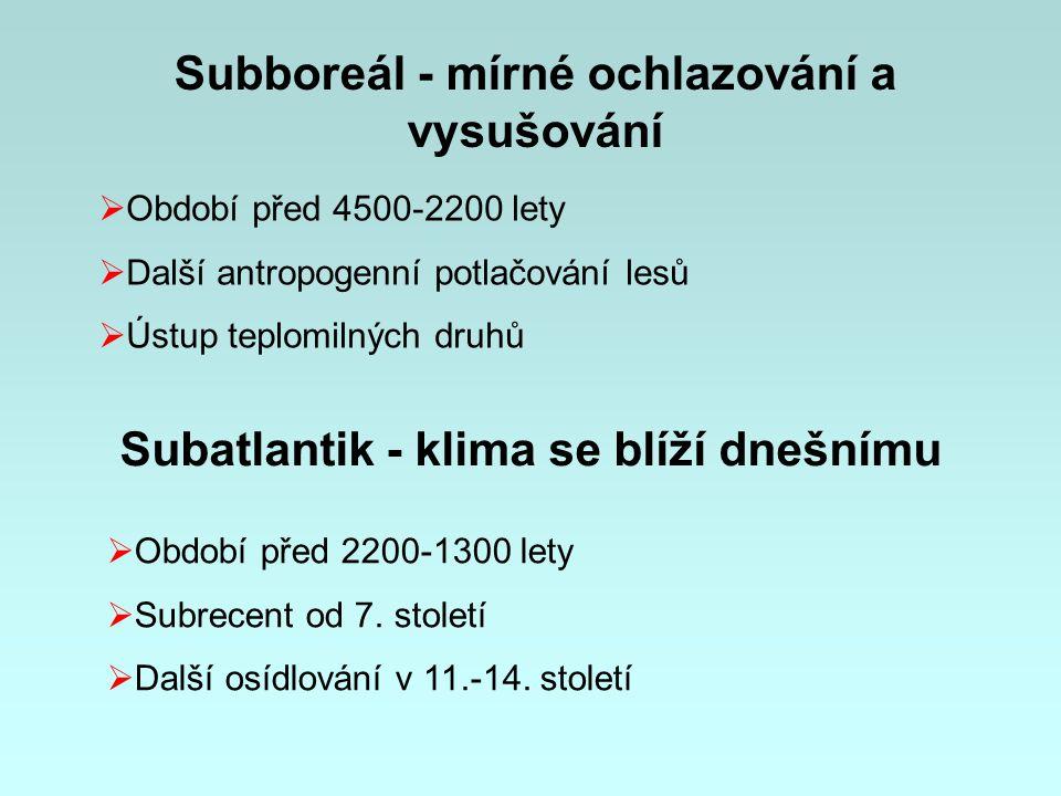 Subboreál - mírné ochlazování a vysušování  Období před 4500-2200 lety  Další antropogenní potlačování lesů  Ústup teplomilných druhů Subatlantik - klima se blíží dnešnímu  Období před 2200-1300 lety  Subrecent od 7.