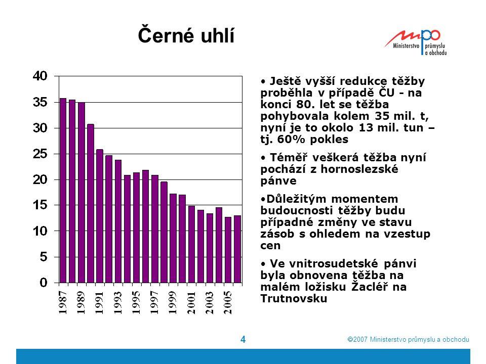  2007  Ministerstvo průmyslu a obchodu 4 Černé uhlí Ještě vyšší redukce těžby proběhla v případě ČU - na konci 80. let se těžba pohybovala kolem 35