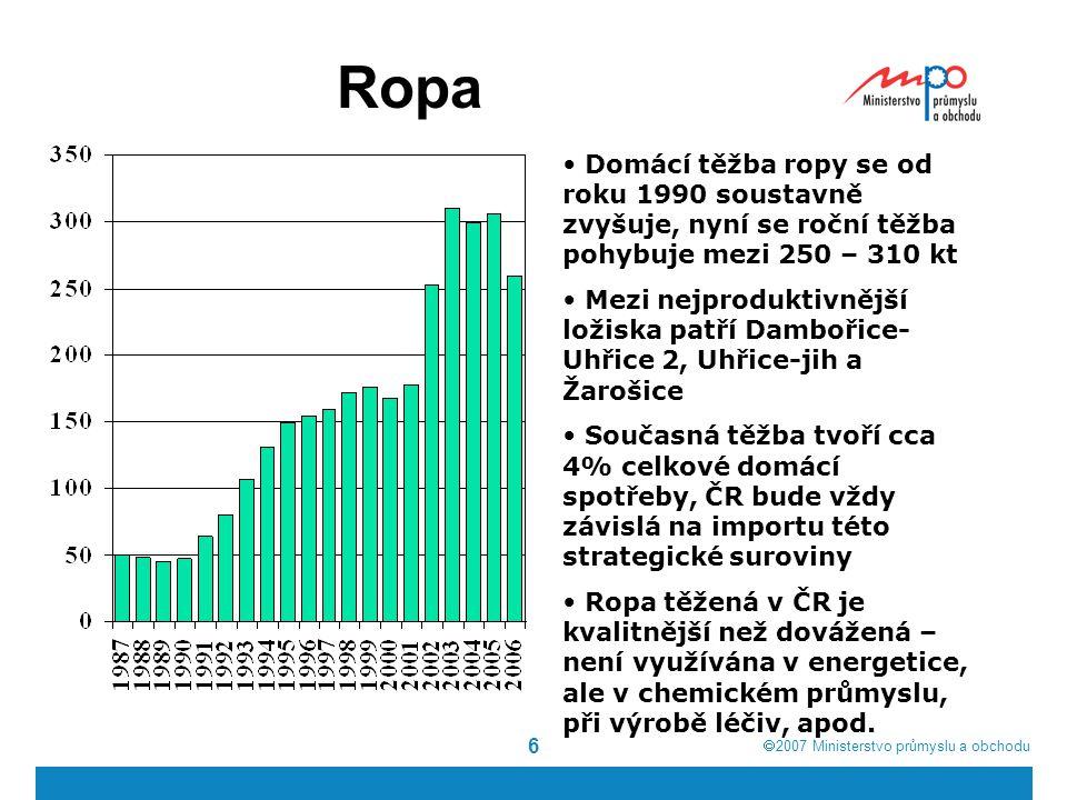  2007  Ministerstvo průmyslu a obchodu 6 Ropa Domácí těžba ropy se od roku 1990 soustavně zvyšuje, nyní se roční těžba pohybuje mezi 250 – 310 kt M