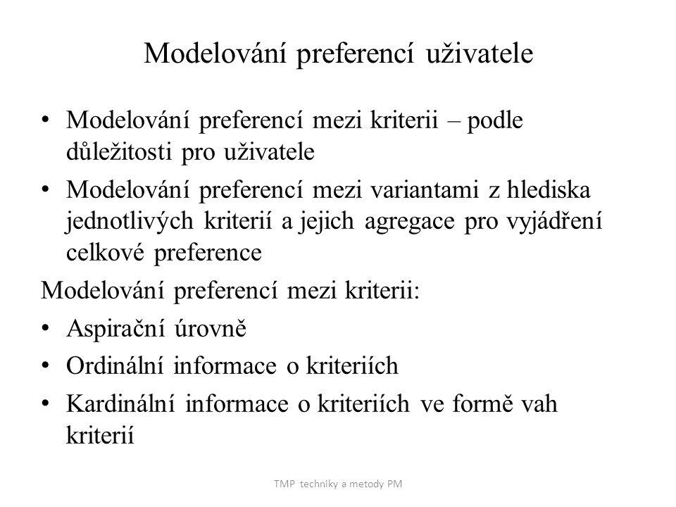TMP techniky a metody PM Modelování preferencí uživatele Modelování preferencí mezi kriterii – podle důležitosti pro uživatele Modelování preferencí mezi variantami z hlediska jednotlivých kriterií a jejich agregace pro vyjádření celkové preference Modelování preferencí mezi kriterii: Aspirační úrovně Ordinální informace o kriteriích Kardinální informace o kriteriích ve formě vah kriterií