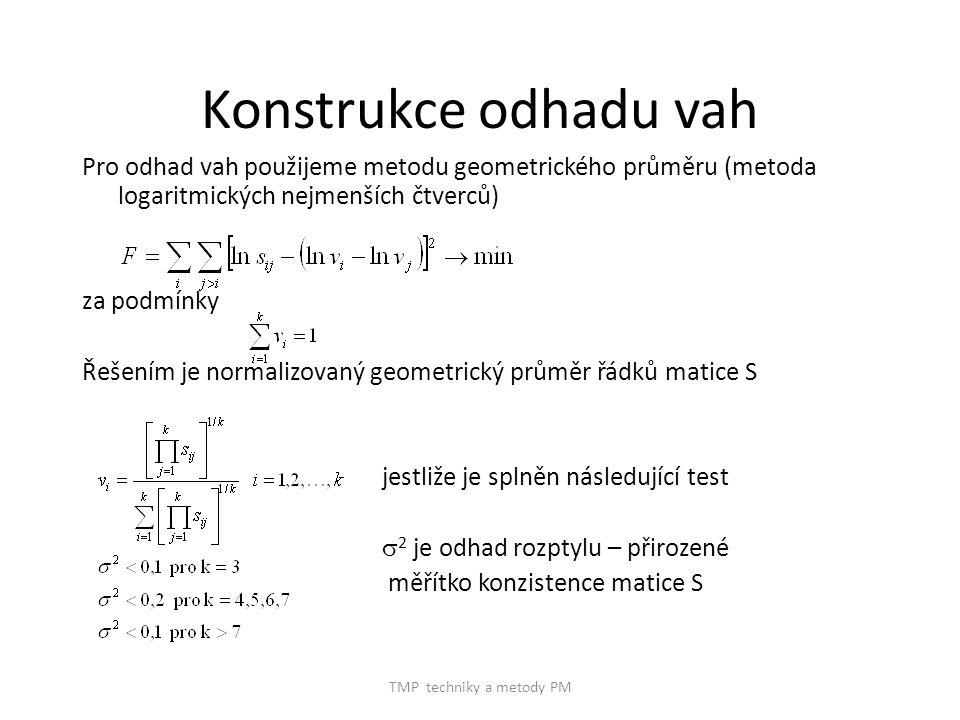 TMP techniky a metody PM Konstrukce odhadu vah Pro odhad vah použijeme metodu geometrického průměru (metoda logaritmických nejmenších čtverců) za podmínky Řešením je normalizovaný geometrický průměr řádků matice S jestliže je splněn následující test  2 je odhad rozptylu – přirozené měřítko konzistence matice S