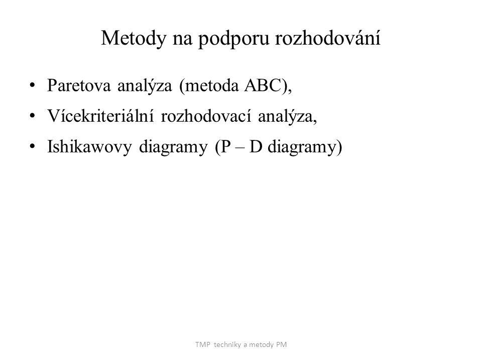 TMP techniky a metody PM Metody na podporu rozhodování Paretova analýza (metoda ABC), Vícekriteriální rozhodovací analýza, Ishikawovy diagramy (P – D