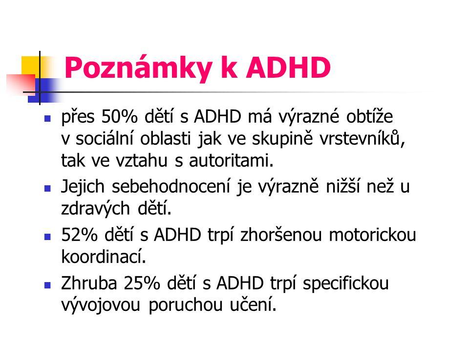 Poznámky k ADHD přes 50% dětí s ADHD má výrazné obtíže v sociální oblasti jak ve skupině vrstevníků, tak ve vztahu s autoritami. Jejich sebehodnocení