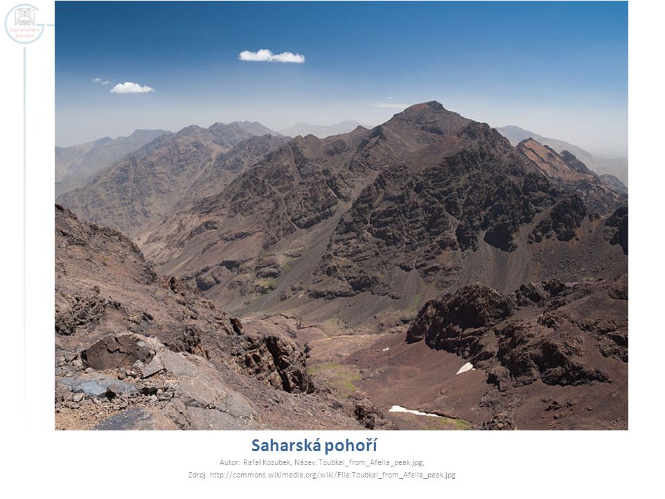 Saharská pohoří Autor: Rafał Kozubek, Název: Toubkal_from_Afella_peak.jpg, Zdroj: http://commons.wikimedia.org/wiki/File:Toubkal_from_Afella_peak.jpg