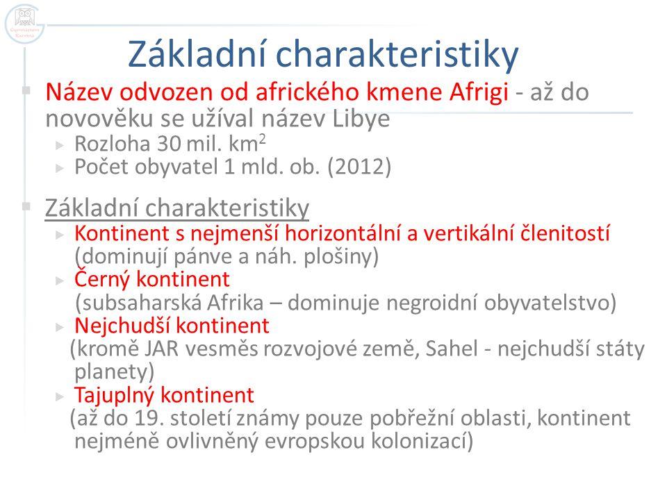 Základní charakteristiky  Název odvozen od afrického kmene Afrigi - až do novověku se užíval název Libye  Rozloha 30 mil. km 2  Počet obyvatel 1 ml