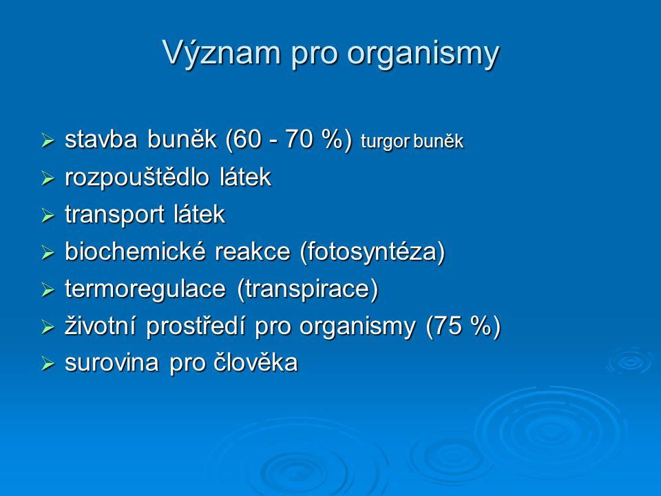 Význam pro organismy  stavba buněk (60 - 70 %) turgor buněk  rozpouštědlo látek  transport látek  biochemické reakce (fotosyntéza)  termoregulace