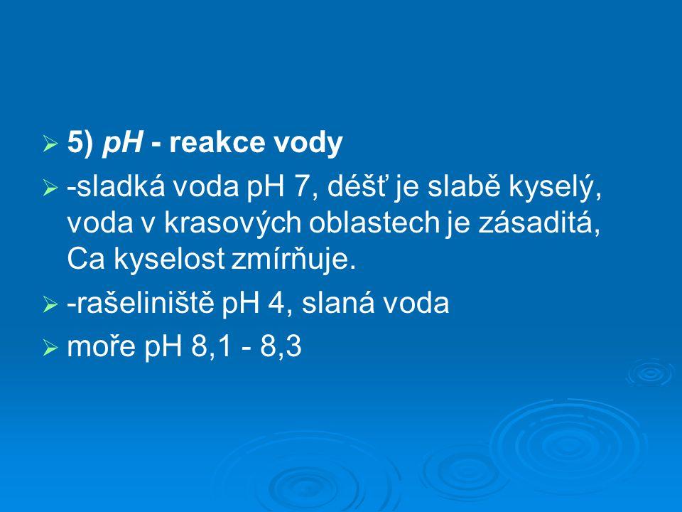   5) pH - reakce vody   -sladká voda pH 7, déšť je slabě kyselý, voda v krasových oblastech je zásaditá, Ca kyselost zmírňuje.   -rašeliniště pH