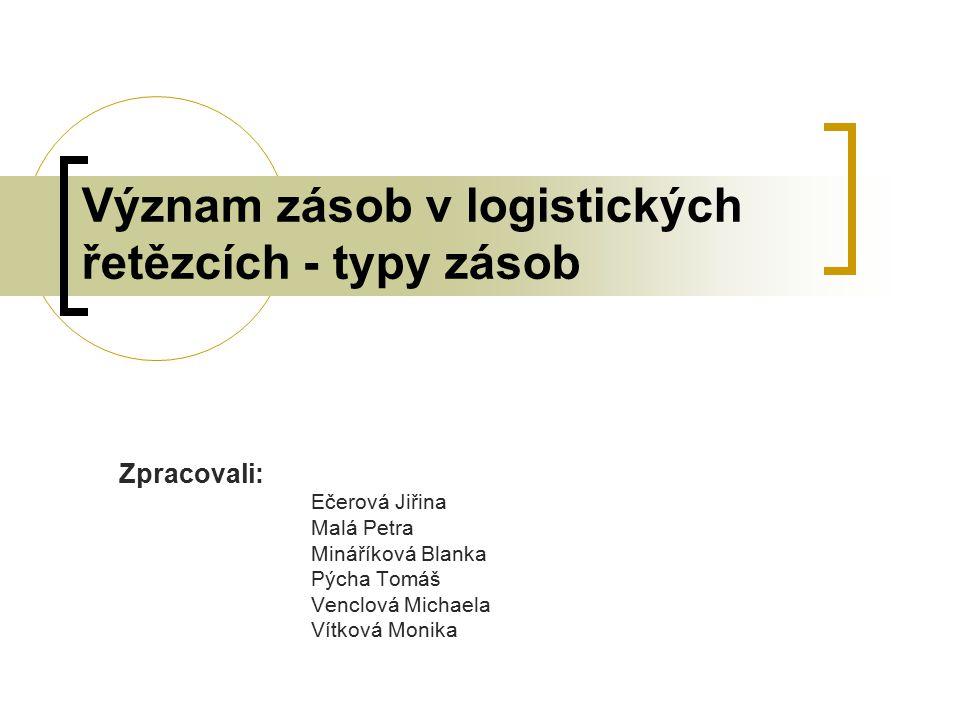 Význam zásob v logistických řetězcích - typy zásob Zpracovali: Ečerová Jiřina Malá Petra Mináříková Blanka Pýcha Tomáš Venclová Michaela Vítková Monik