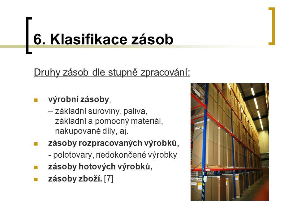 6. Klasifikace zásob Druhy zásob dle stupně zpracování: výrobní zásoby, – základní suroviny, paliva, základní a pomocný materiál, nakupované díly, aj.