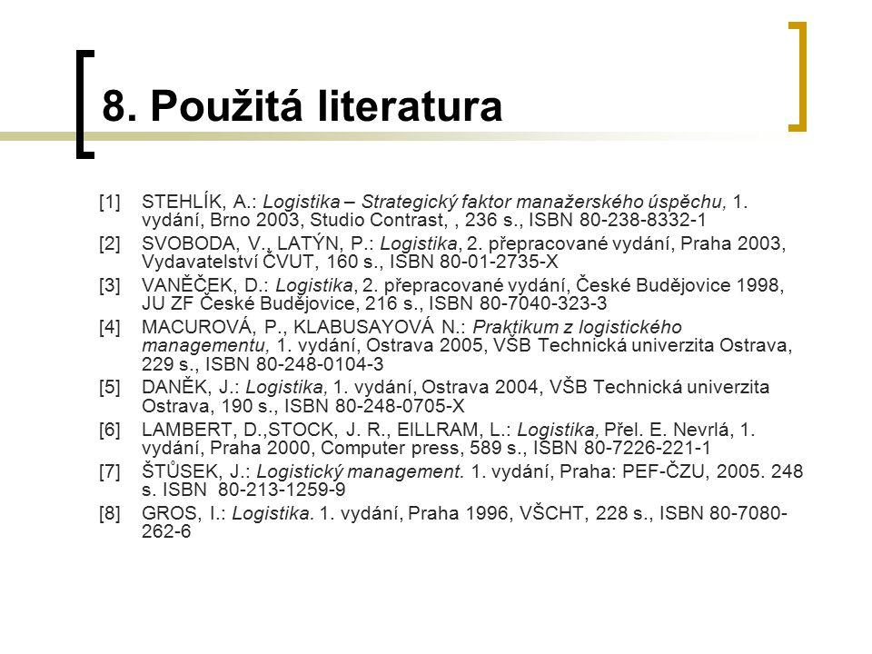 8. Použitá literatura [1]STEHLÍK, A.: Logistika – Strategický faktor manažerského úspěchu, 1. vydání, Brno 2003, Studio Contrast,, 236 s., ISBN 80-238