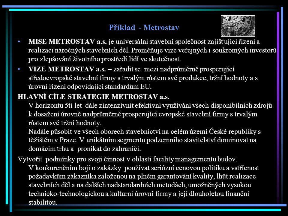 Příklad - Metrostav MISE METROSTAV a.s. je universální stavební společnost zajišťující řízení a realizaci náročných stavebních děl. Proměňuje vize veř