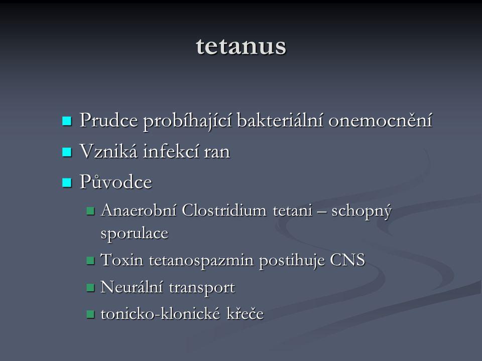 tetanus Prudce probíhající bakteriální onemocnění Prudce probíhající bakteriální onemocnění Vzniká infekcí ran Vzniká infekcí ran Původce Původce Anae