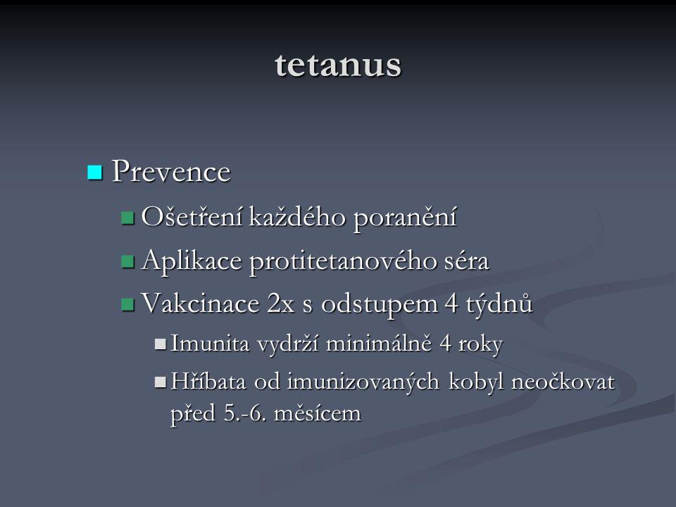 tetanus Prevence Prevence Ošetření každého poranění Ošetření každého poranění Aplikace protitetanového séra Aplikace protitetanového séra Vakcinace 2x