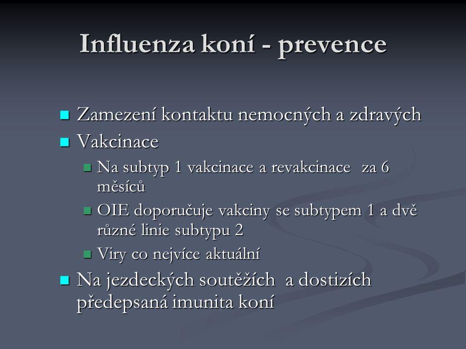 Influenza koní - prevence Zamezení kontaktu nemocných a zdravých Zamezení kontaktu nemocných a zdravých Vakcinace Vakcinace Na subtyp 1 vakcinace a re