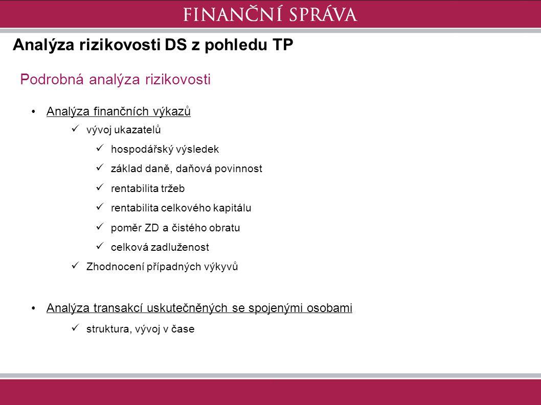 Analýza rizikovosti DS z pohledu TP Podrobná analýza rizikovosti Analýza finančních výkazů vývoj ukazatelů hospodářský výsledek základ daně, daňová po