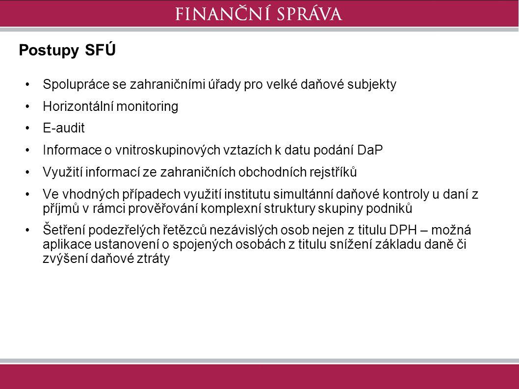 Postupy SFÚ Spolupráce se zahraničními úřady pro velké daňové subjekty Horizontální monitoring E-audit Informace o vnitroskupinových vztazích k datu p
