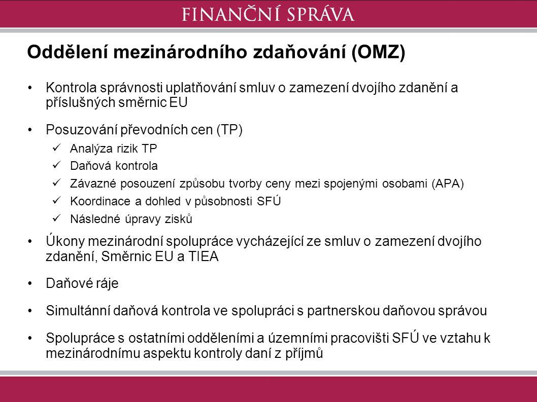 Oddělení mezinárodního zdaňování (OMZ) Kontrola správnosti uplatňování smluv o zamezení dvojího zdanění a příslušných směrnic EU Posuzování převodních