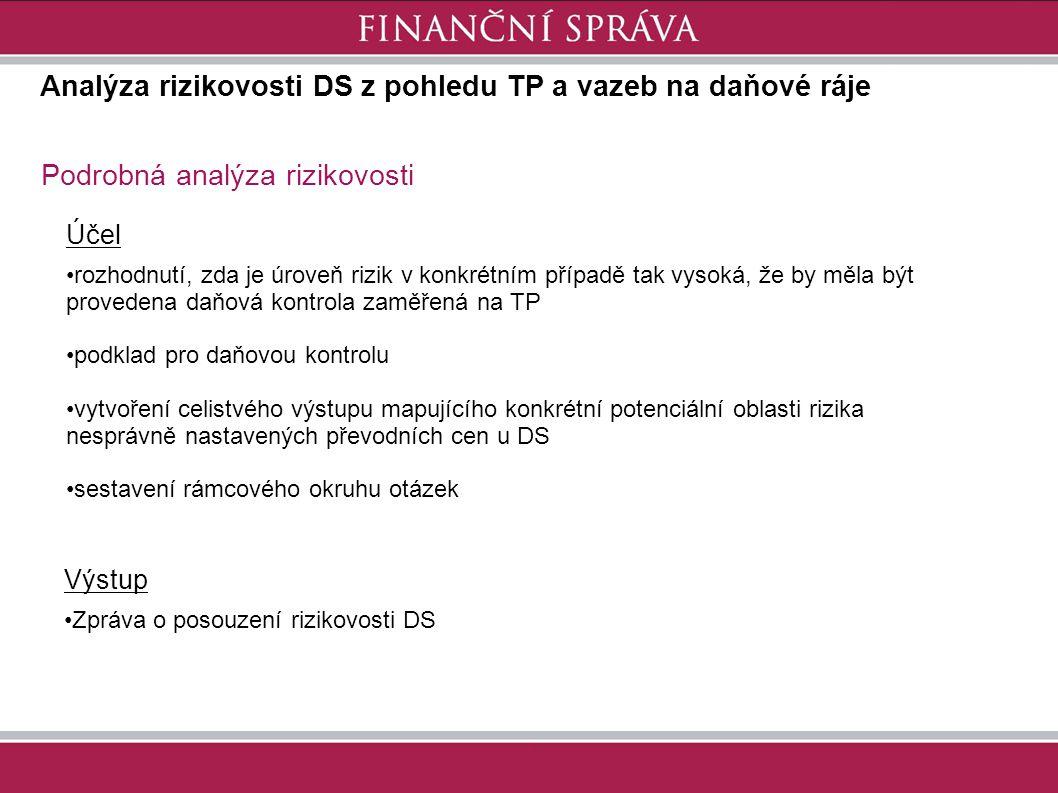 Analýza rizikovosti DS z pohledu TP a vazeb na daňové ráje Podrobná analýza rizikovosti Výstup Zpráva o posouzení rizikovosti DS Účel rozhodnutí, zda