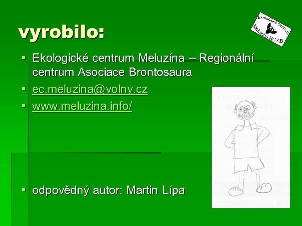 vyrobilo:  Ekologické centrum Meluzína – Regionální centrum Asociace Brontosaura  ec.meluzina@volny.cz ec.meluzina@volny.cz  www.meluzina.info/ www.meluzina.info/  odpovědný autor: Martin Lípa