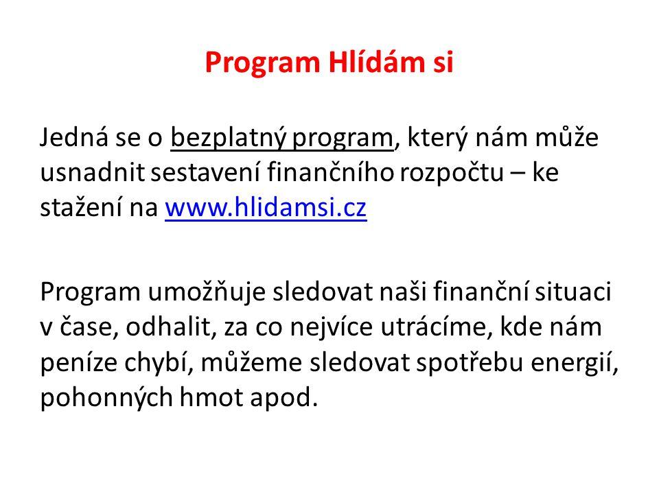 Program Hlídám si Jedná se o bezplatný program, který nám může usnadnit sestavení finančního rozpočtu – ke stažení na www.hlidamsi.czwww.hlidamsi.cz P