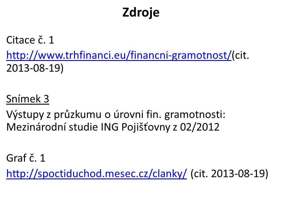 Zdroje Citace č. 1 http://www.trhfinanci.eu/financni-gramotnost/http://www.trhfinanci.eu/financni-gramotnost/(cit. 2013-08-19) Snímek 3 Výstupy z průz