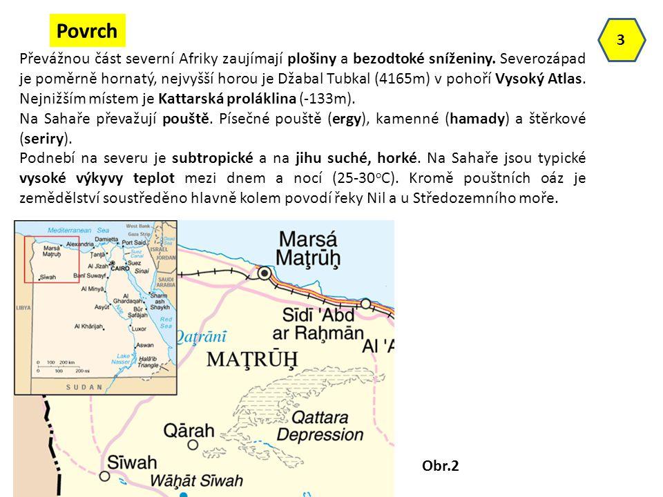 Převážnou část severní Afriky zaujímají plošiny a bezodtoké sníženiny. Severozápad je poměrně hornatý, nejvyšší horou je Džabal Tubkal (4165m) v pohoř