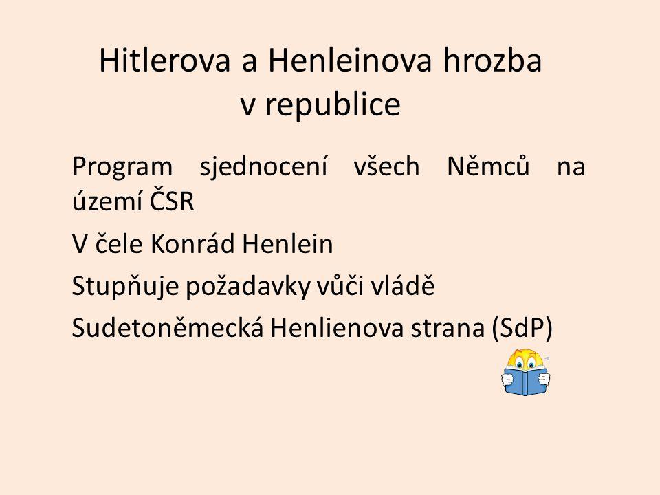 Hitlerova a Henleinova hrozba v republice Program sjednocení všech Němců na území ČSR V čele Konrád Henlein Stupňuje požadavky vůči vládě Sudetoněmeck