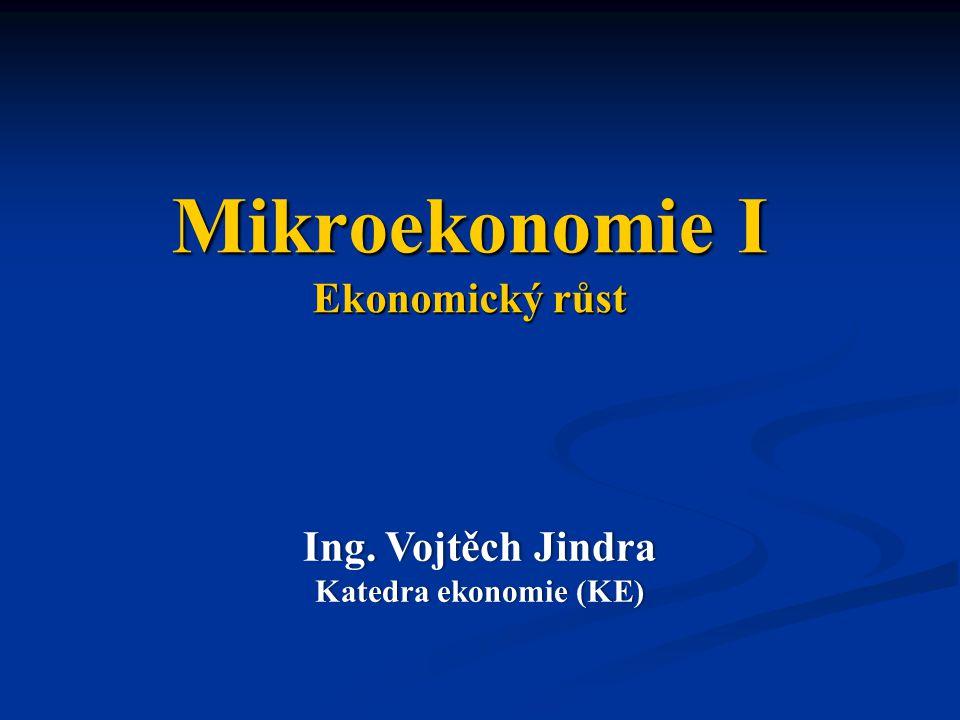 Mikroekonomie I Ekonomický růst Ing. Vojtěch JindraIng.